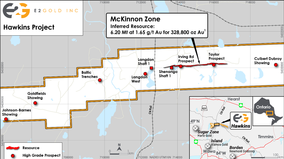 Hawkins Gold Project showing the location of the McKinnon Zone