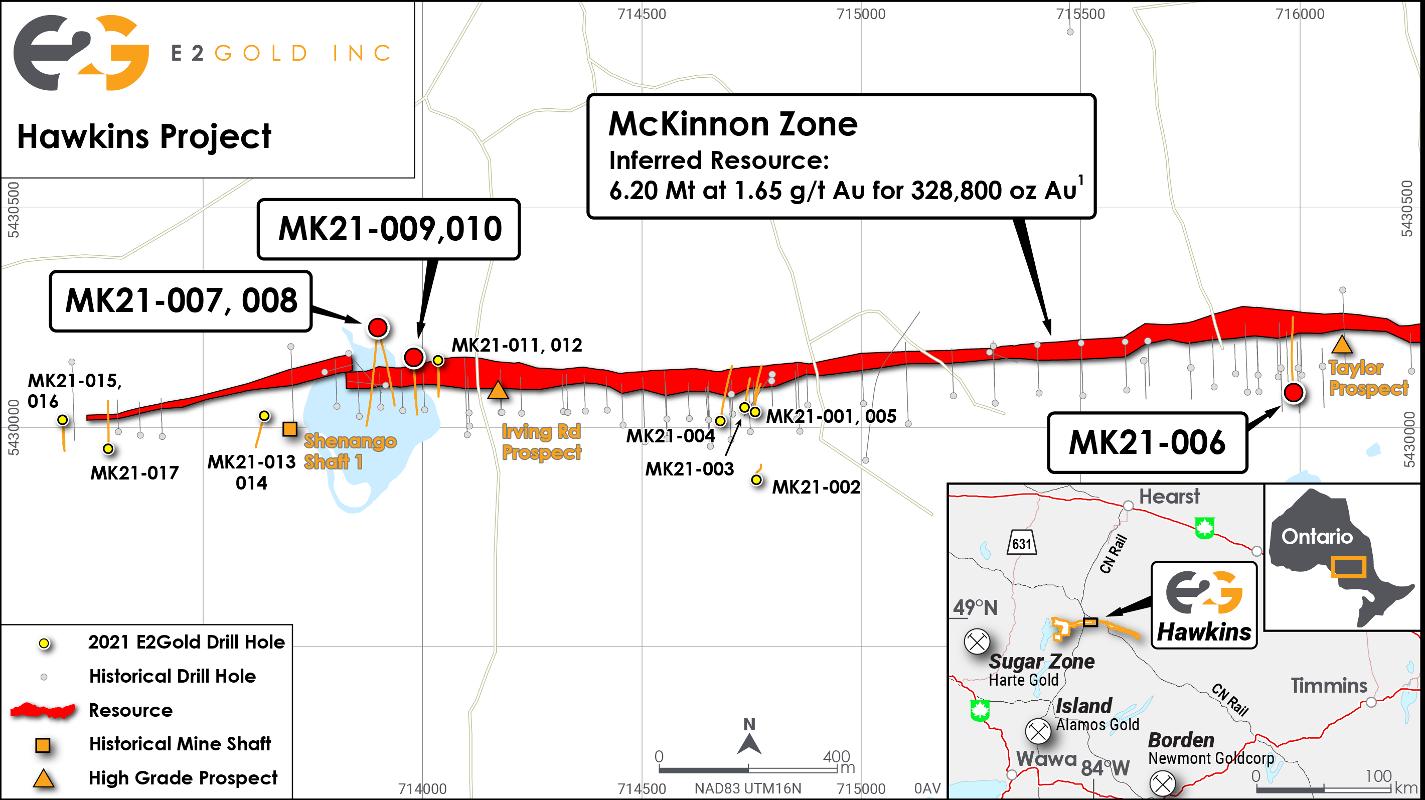 Figure 1 - Drill Hole Locations Hawkins Project